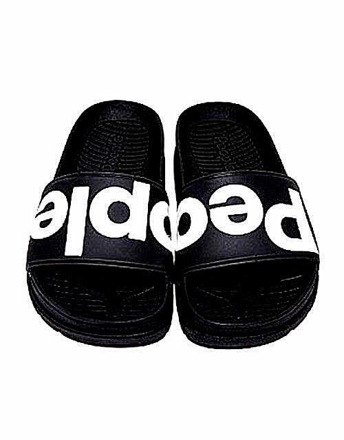 NEW NIB ANTHROPOLOGIE PEOPLE FOOTWEAR BLACK LOGO LENNON SLIDES SANDALS FREE SHIP
