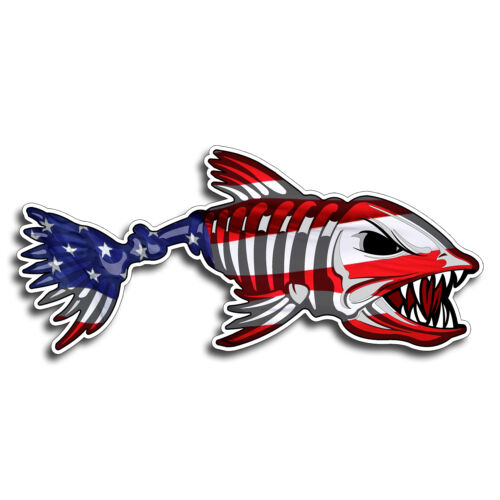 Pair USA Bone Fish Sticker American Flag Car Laptop Window Bumper Decal Graphic