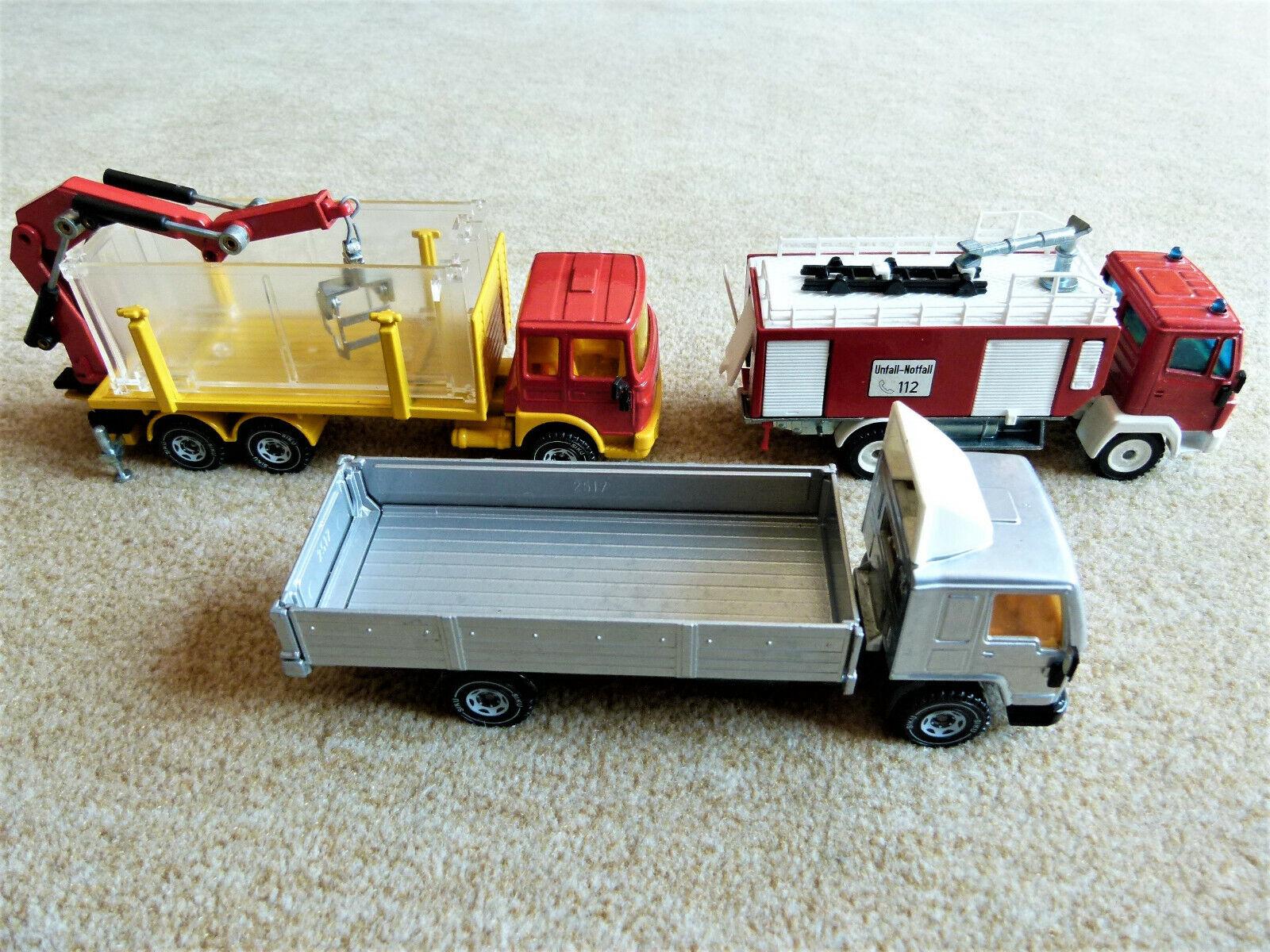 4 modelos siku camiones bomberos ladekran pistas Bully vehículos partidas camiones