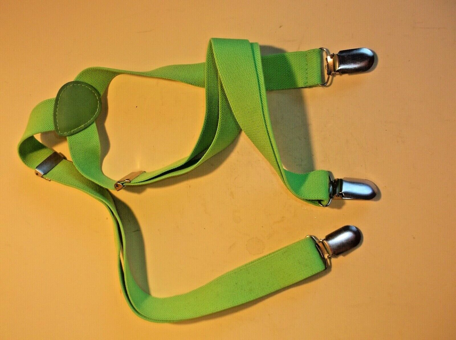 LIME GREEN MENS BRACES- CHEERY COLOUR.