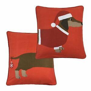 Noel-Chiot-Chapeau-Pull-Teckel-Chien-Saucisse-Coton-Rouge-Cushion-Cover-43-2cm