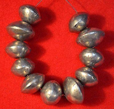 Antique Yemeni Handcrafted Fabricated Ethnic Silver Hollow Metal Beads, Yemen