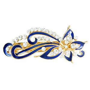 Dark-Blue-Rhinestones-Inlaid-Swirl-Floral-Barrette-French-Hair-Clip-LW
