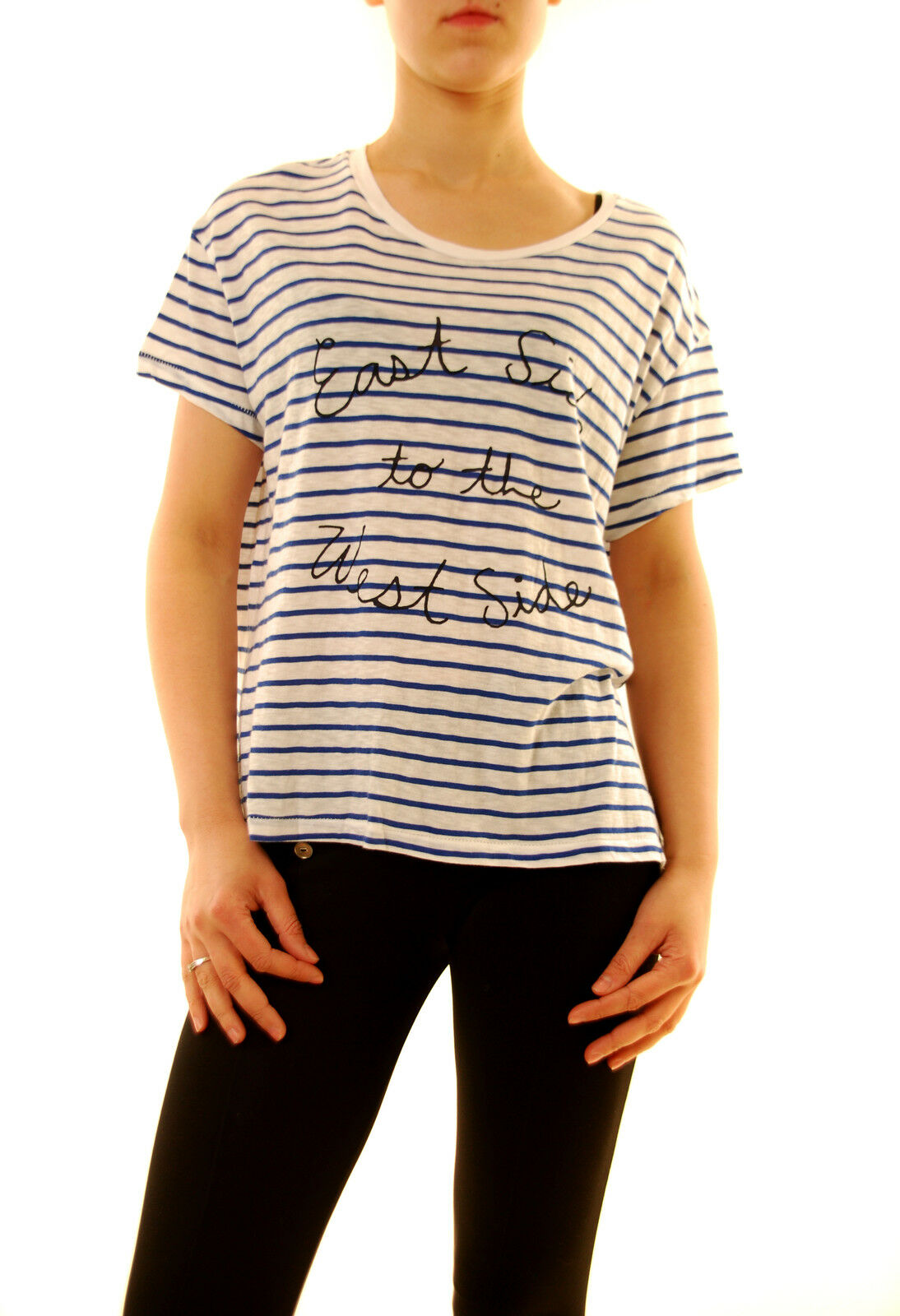 Sundry Women's Striped East Side Relaxed Fit T-shirt White Size US1  BCF611