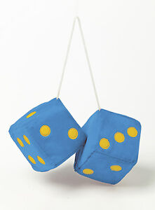 Interieur Sumex Blue & Black Soft Fluffy Furry Car & Home Hanging Mirror Spotty Dice #40 Auto, motor: onderdelen, accessoires
