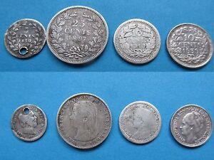 PAYS-BAS-NEDERLANDEN-WILLEM-III-amp-WILHELMINA-1850-1897-1919-19139-ARGENT