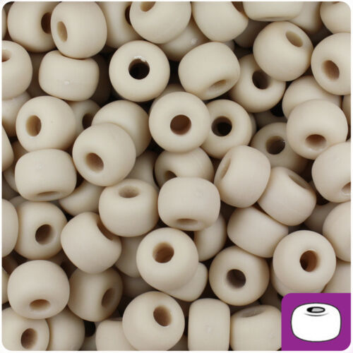 250 Dark Ivory Matte 11x8mm Large Barrel Pony Beads Made in the USA