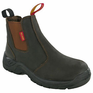 542aa566957 Details about Skellerup Safety Dealer Boots Leather Steel Toe Cap Work Mens  Ankle Oil Brown