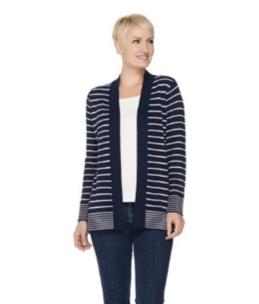 Susan Graver Striped Cotton Acrylic Cardigan Sweater Size M Navy