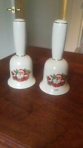 Two-Vintage-Santa-Porcelain-Bisque-Dinner-Bells-1979