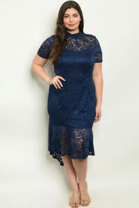 Details about Womens Plus Size Navy Blue Lace Dress 1X High Low Lined
