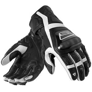 Rev-039-It-Stellaire-Hommes-Moto-Gant-en-Cuir-Sport-Noir-Blanc