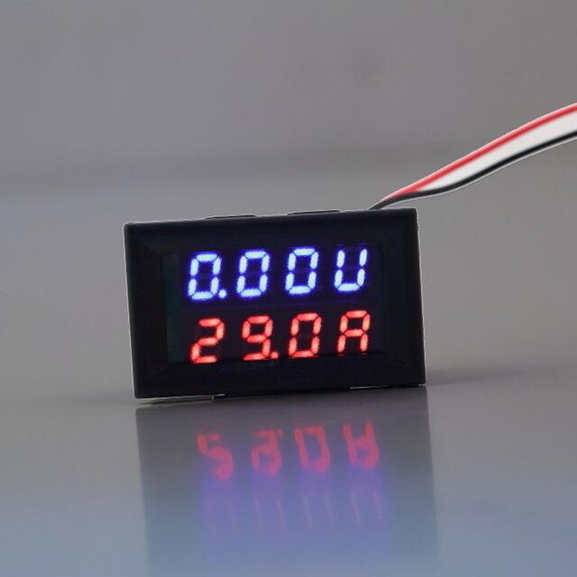 DC 0-30V 10A Voltmeter Ammeter Blue+Red LED Panel Amp Digital Volt Gauge meter Q