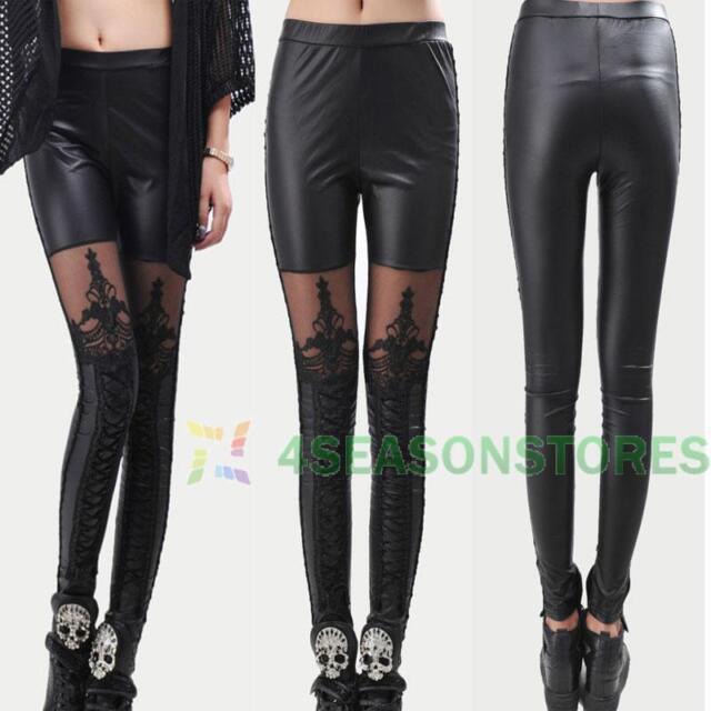 Black Stylish Sexy Women's Lace-Up Faux PU Leather Lace Leggings Fashion Hot