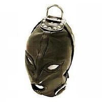 PU Leather Eyes & Mouth Open Restraint bondage Gimp Mask Hood W/ Rope Attachment