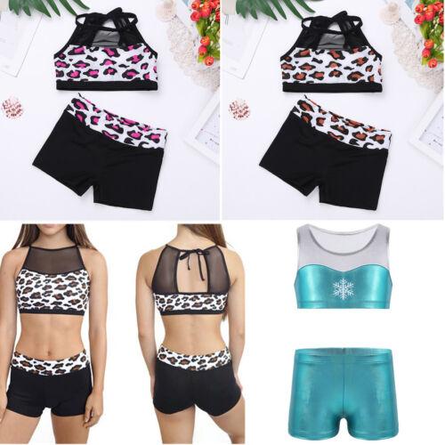 Girl Kid Ballet Sport Dance Costume Gymnastics Leotard Crop Top+Shorts Dancewear