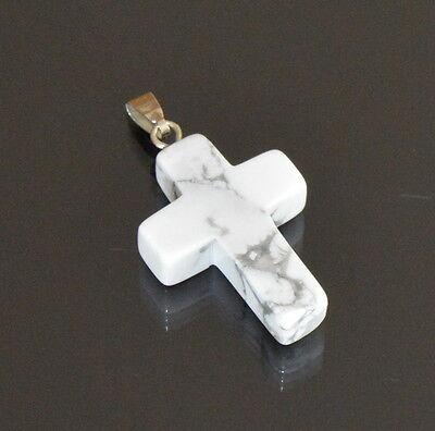 Kreuz Anhänger Howlith Türkis  Cross Natursteine Natur Edelstein 34 mm X 20 mm