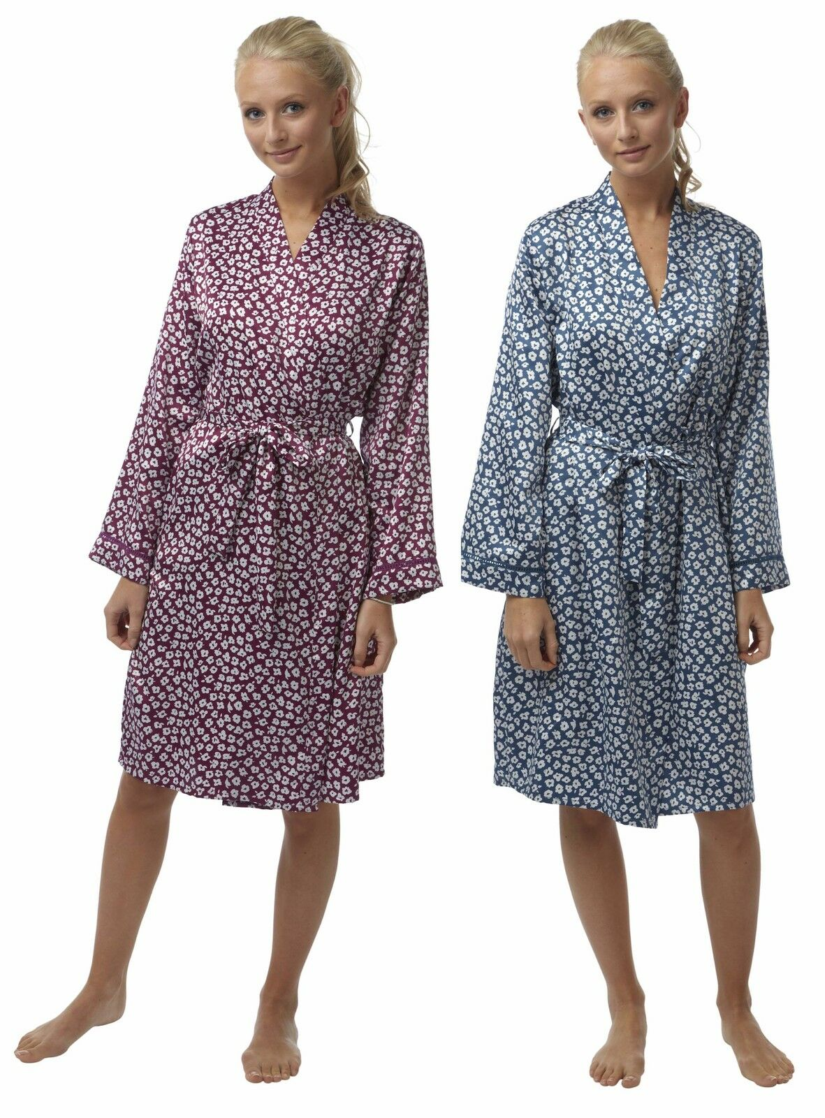 Satin Kimono Ladies FLORAL Summer Dressing Gown Robe Silky Blue ...