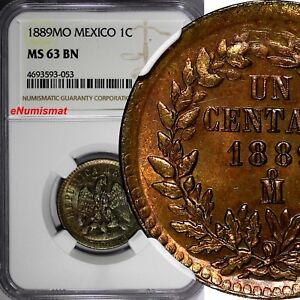 Mexico-SECOND-REPUBLIC-Copper-1889-Mo-1-Centavo-NGC-MS63-BN-TONING-KM-391-6