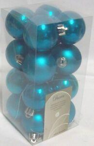 Decoris 16 Mini Luxury Shatterproof Christmas Baubles 4cm Dazzling Blue 020731