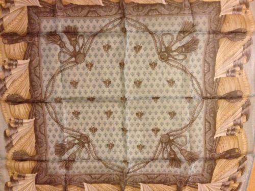 Vintage Authentic Lancel Paris 100% Silk Scarf, Tassels Pattern