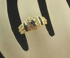 18 K Vintage Blue Sapphire and Diamond Ring For Young Ladies Size 5 1/4