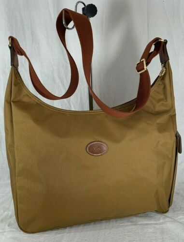 LONGCHAMP Tan Canvas and Leather Trim Crossbody Sh