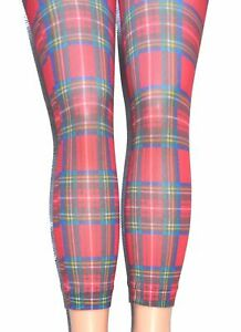 Red-Scots-Tartan-Footless-Tights-Microfibre-Opaque-Print-SCOTS-Plaid-Festival