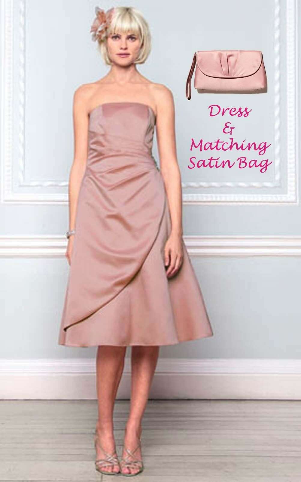 BNWT Size 10 12 Dusky Pink Satin EVE Short Dress & Clutch Bag BHS Bridesmaid