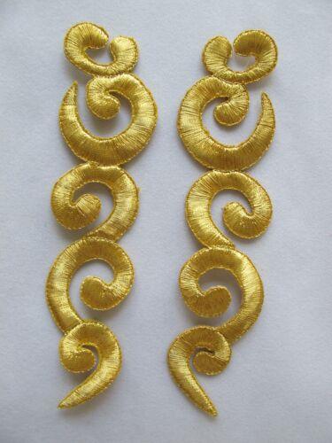 "#2231 5-1//2/"" Gold,Silver Trim Fringe Boho Art Embroidery Applique Patch//Pair"