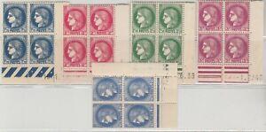 FRANCOBOLLI-1938-39-FRANCIA-TIPO-CERERE-5-QUARTINE-MNH-MLH-E-1705