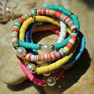 Boho-Rainbow-Imitation-Pearl-Charms-Bracelet-Bangle-Polymer-Clay-Beaded-Elastic