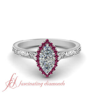 Halo Art Deco Engagement Ring With Marquise Diamond And Pink Sapphire 0 60 Carat Ebay