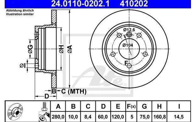 ATE Juego de 2 discos freno Trasero 280mm para BMW Serie 3 24.0110-0202.1