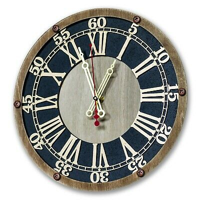 ANTIQUE STYLE VINTAGE BRASS 12 HANDCRAFTED WOOD DESIGNER CAMBRIDGE WALL CLOCK