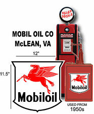 """(MOBI-1) 12"""" MOBIL OIL SHIELD GASOLINE VINYL DECAL OIL CAN GAS PUMP LUBSTER"""