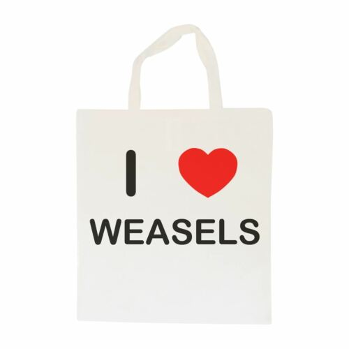 Cotton BagSize choice Tote I Love Weasels Shopper or Sling
