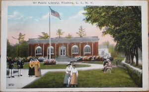 1922-Postcard-Public-Library-Flushing-Queens-New-York-NY