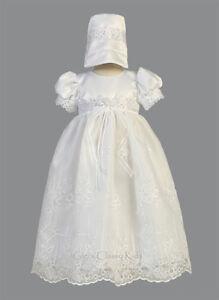 Baby Flower Girls White Organza 2 Pc Dress Gown Christening Baptism Bonnet New