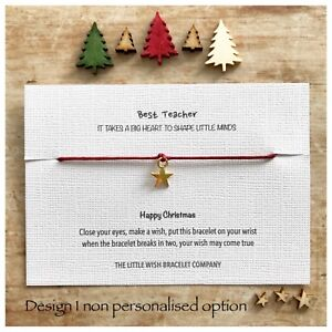 Christmas Wish.Details About Teacher Thank You Christmas Wish Bracelet Nursery Assistant Key Worker Gift