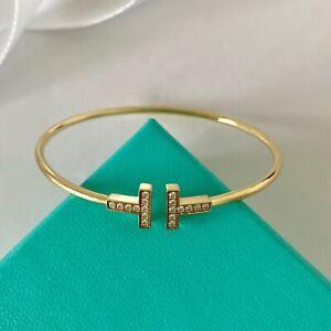 Tiffany Co T Wire Yellow Gold Diamond Bracelet Medium 3600 W Packaging Ebay