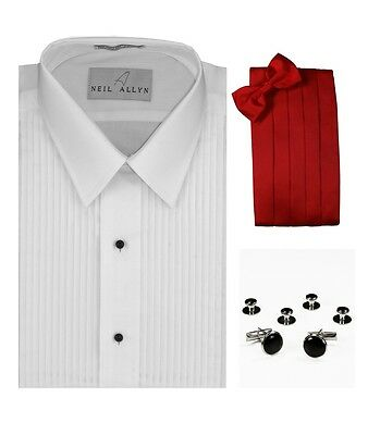 Mens Black Tuxedo Dress Shirt Laydown Collar Prom Size Large 16-16.5 36//37