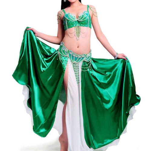 A011 professionnel danse orientale costume 3 pièces soutien-GORGE CEINTURE Jupe Belly Dance tribal