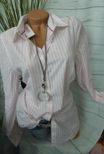 532 44-48 rosa weiß gestreift NEU Sheego Long Bluse Shirt Langarm Gr