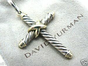 b755ea544e43 Image is loading Large-David-Yurman-Authentic-Cable-Classics-Cross-Pendant-