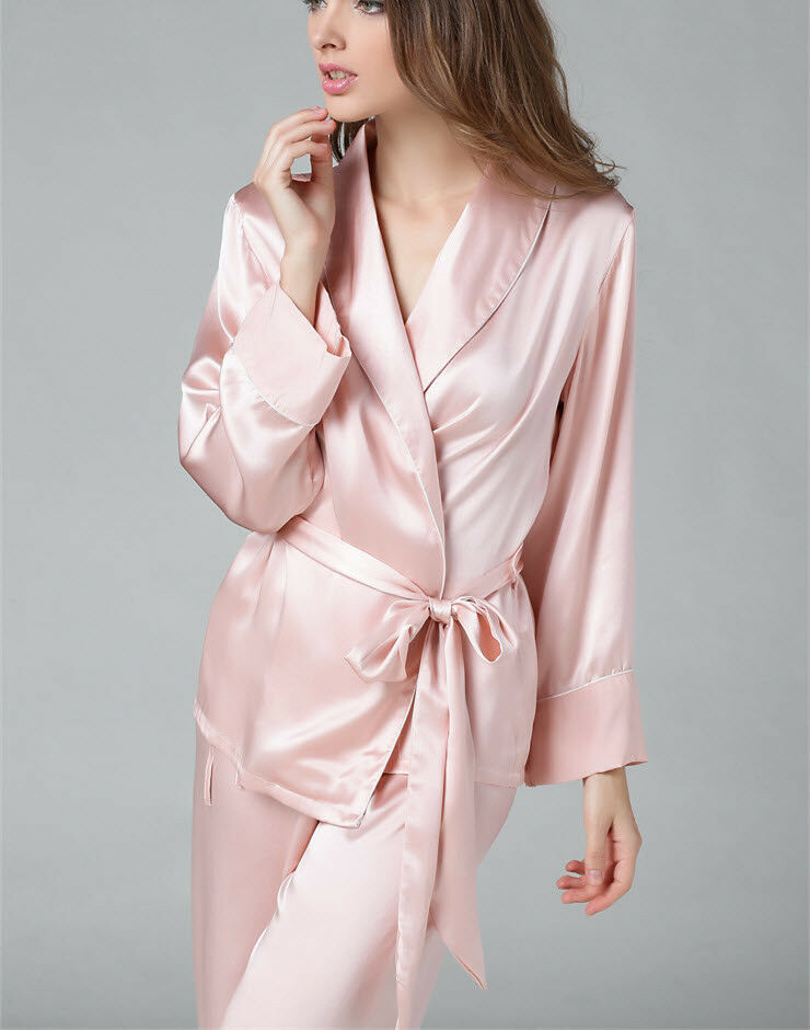 3 colors M L XL Hot Sale 100% Pure Silk Women's Pajama Set With Belt Nightgown