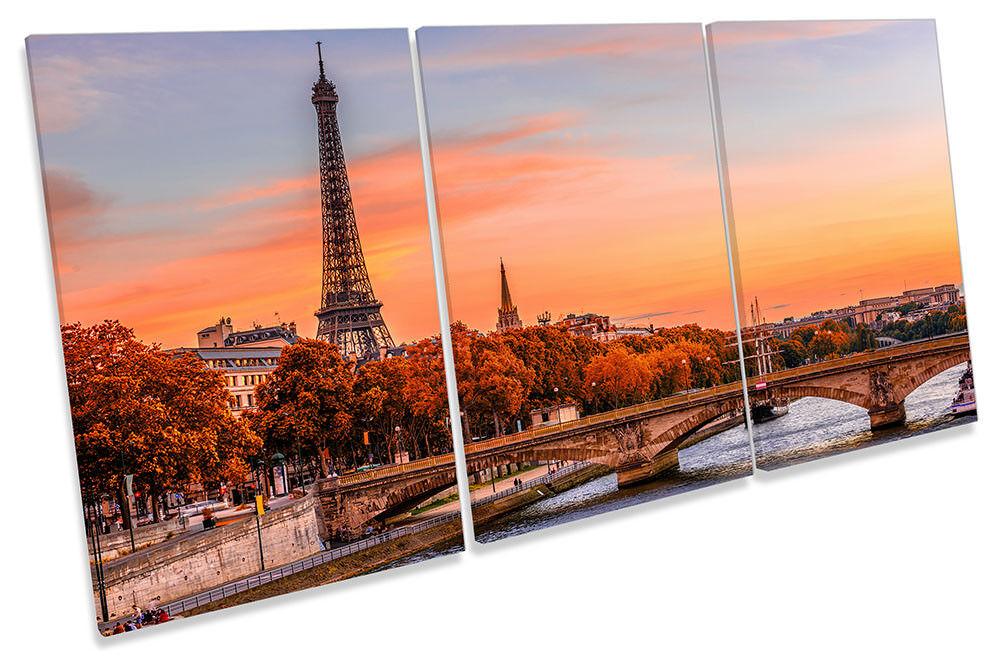 Eiffel Tower Sunset River Seine Framed CANVAS PRINT TREBLE Wall Art