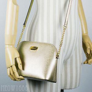 3639ea5efbdb87 New Michael Kors CINDY Gold Metallic Large Dome Crossbody Purse ...