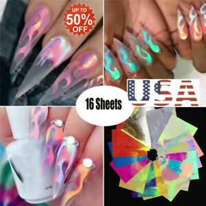 16Pcs-Holographic-Fire-Flame-Hollow-Stickers-Fires-Stickers-Manicure-Nail-Art-US