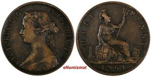 Great-Britain-Victoria-Bronze-1864-1-2-Penny-Low-Mintage-538-000-KM-748-2